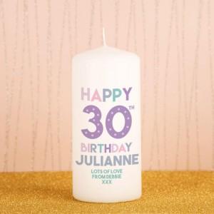 Happy 30th Birthday Bespoke Block Candle
