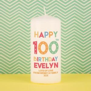 Special Happy 100th Birthday Custom Pillar Candle