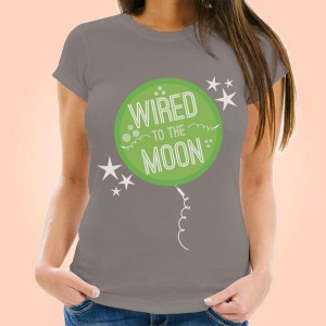 Wired to the Moon Ladies Grey T-Shirt