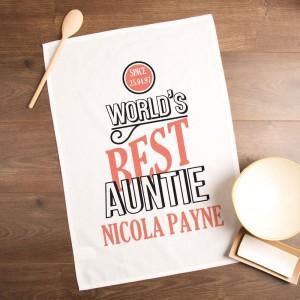 Customised Worlds Best Auntie Printed Tea Towel
