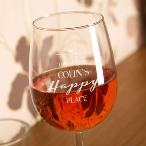 Bespoke Happy Place Engraved Wine Glass