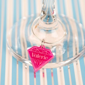 Personalised Junko Style Diamond Wine Glass Charm
