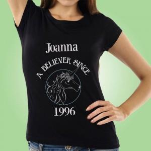 Unicorn Believer Personalised Black Womens T-Shirt