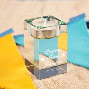Stars Personalised Glass Tealight Holder
