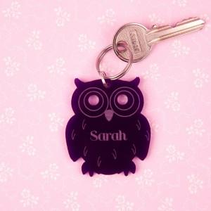 Personalised Junko Style Acrylic Owl Keyring