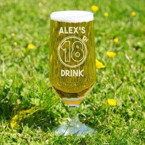 Customised 18th Drink Beer Glass