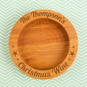 Personalised Family Christmas Wooden Wine Bottle Coaster