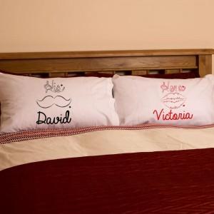 Personalised Moustache & Lips Pillowcase Set