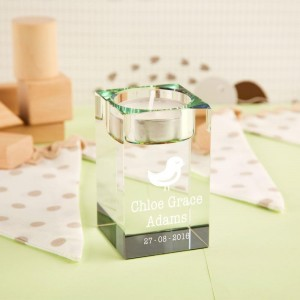 Bird Personalised Glass Tealight Holder