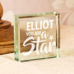 Personalised You Are a Star Jade Glass Block