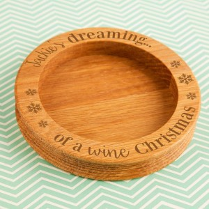 Dreaming of a Wine Christmas Wine Bottle Coaster