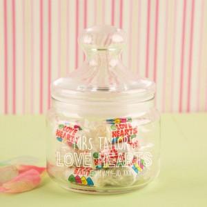 Customised Glass Sweet Jar for a Teacher