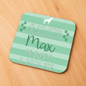 Personalised Stripy Dog Home Drinks Coaster