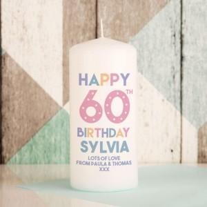 Happy 60th Birthday Customised Pillar Candle