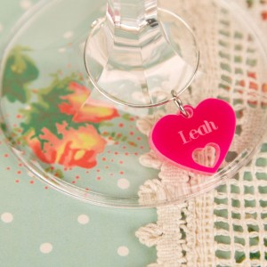Personalised Junko Style Heart Wine Glass Charm