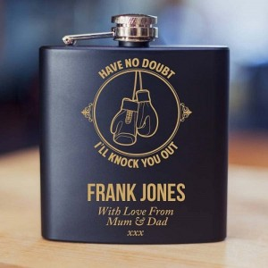 Personalised Boxing Themed 6oz Hip Flask Gift Set