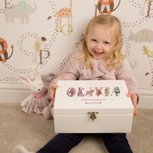Deluxe Personalised Christening Keepsake Box for a Girl