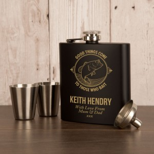 Good things come to those who bait fishing hipflask gift set
