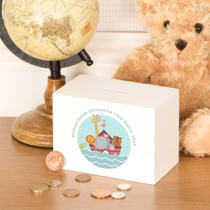 Noahs Ark Personalised Christening Gift Money Box