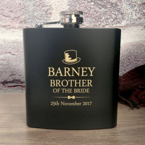 Personalised Brother of the Bride Hip Flask Set