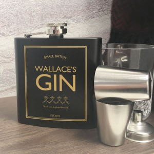 Personalised Gin Hip Flask Gift Set