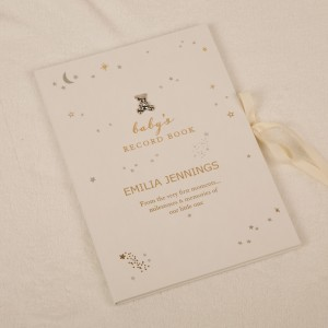 Personalised Foil Printed Baby Record Book. New Baby Gift Idea