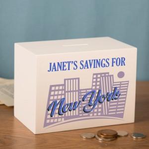 New York Savings Fund Personalised Wooden Money Box