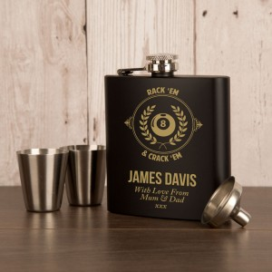 Pool Fan Anodised Black Engraved Hip Flask Gift