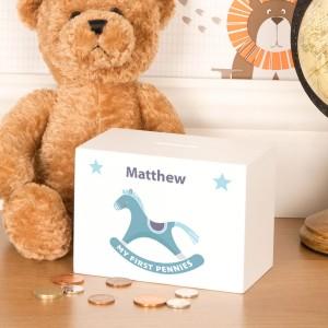 Baby Boy Rocking Horse Design Wooden Money Box