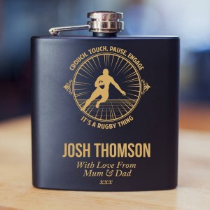 Personalised Rugby Themed Engraved Hipflask Giftset