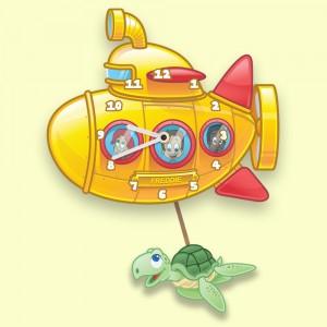 Yellow Submarine Customized Pendulum Wall Clock for Kids