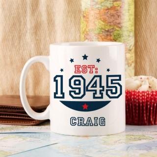 Personalised 70th Birthday Est Mug For Him
