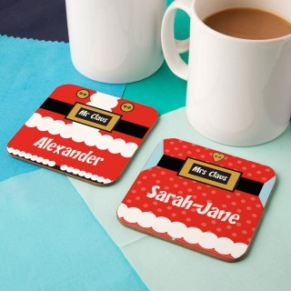 Jolly Mr & Mrs Claus Customised Double Coaster Set