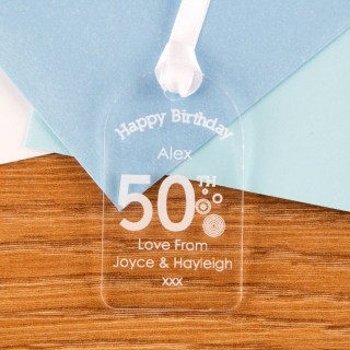 50th Birthday Acrylic Gift Tag