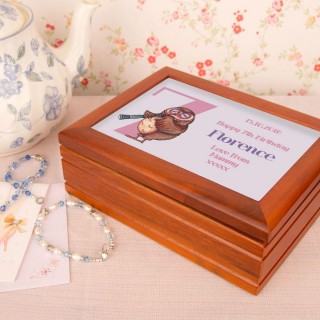 Owl 7th Birthday Customised Musical Jewellery Box