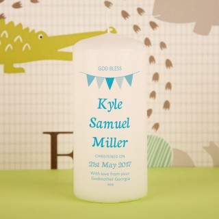 Personalised Blue Bunting Christening Pillar Candle