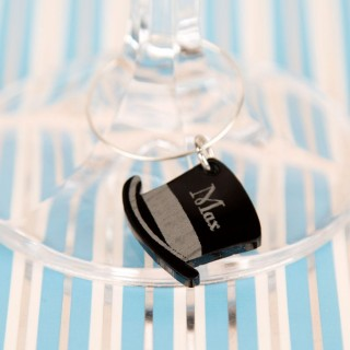 Personalised Junko Style Top Hat Wine Glass Charm