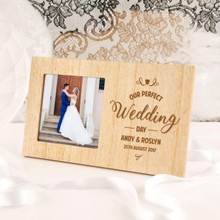 Customised Our Wedding Day Wooden Photo Frame