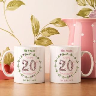 Personalised 20th Wedding Anniversary Mug Set