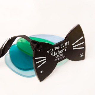 Laser Engraved Will You Be My Usher Acrylic Bow Tie