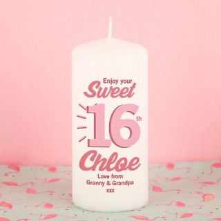 Sweet Sixteen Customised Pillar Candle