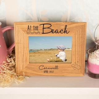 Personalised At the Beach Oak Frame