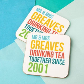 Drinking Since Customised Double Coaster Set