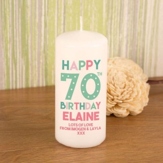 Unique 70th Birthday Block Candle
