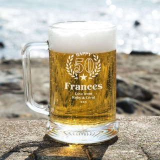 Engraved 50th Wreath Personalised Glass Beer Tankard: Special Offer