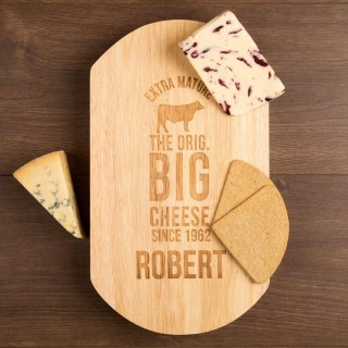 Engraved Big Cheese Cow Design Cheeseboard