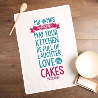 Couples Laughter, Love & Cakes Personalised Tea Towel