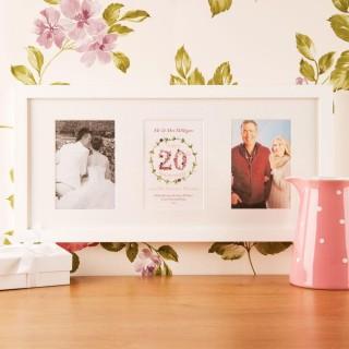 Personalised 20th China Wedding Anniversary 3 Aperture Frame