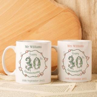 Personalised 30th Wedding Anniversary Mug Set