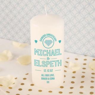 Diamond Anniversary Bespoke Pillar Candle